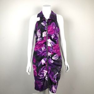 Cache Zip Up Ruched Sleeveless Floral Dress